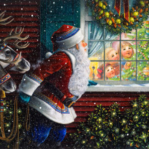 Santas at the window por Lynn Bywaters